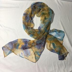 Vintage Chiffon Silk Floral Oblong Scarf